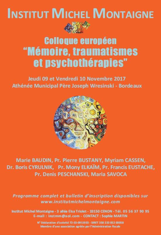 Mémoire, traumatismes et psychothérapies