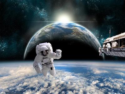 Le cosmonaute en pyjama bleu